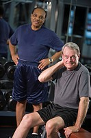 Portrait of multi_ethnic senior men at gym, looking at camera