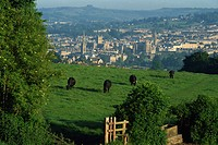 View of Bath from Widdecombe Hill, Avon, England, United Kingdom, Europe