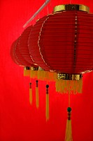 Still life of a row of red lanterns