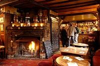 Typical English pub bar, the Griffin Inn, Fletching, East Sussex, England, United Kingdom, Europe