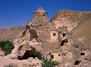 Dome church carved inside and outside from soft stone, in the Soganli Valley in Cappadocia, UNESCO World Heritage Site, Anatolia, Turkey, Asia Minor, ...