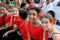 Florida, Miami Beach, North Shore Park and Youth Center, Hispanic Heritage Festival, event, celebration, Black, girl, girls, dancers, performers, smil...