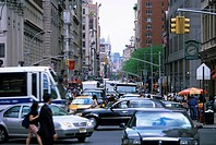 Busy traffic at Broadway, downtown Manhattan, New York, New York State, United States of America, North America