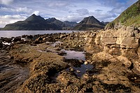 Loch Scavaig, and Black Cuillins in distance, Isle of Skye, Inner Hebrides, Scotland, United Kingdom, Europe