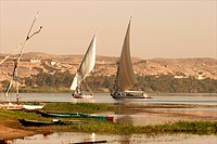 Feluccas on the Nile around Edfou South Egypt
