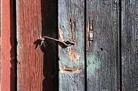Rusty hook latch on wooden door, close-up