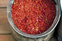 Saffron in container, close-up