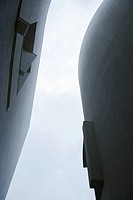 Architectural shot, curved buildings, view from directly below