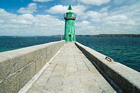 Lighthouse at end of sea wall, Camaret-sur-Mer, Brittany, France