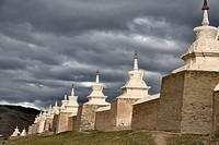 Stupas under threatening sky at Buddhist temple, Erdene Zuu monastery, north central Mongolia No releases available