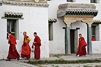 Young Mongolian Buddhist monks wearing stylish shoes prepare for a ceremony, Erdene Zuu monastery, north central Mongolia No releases available