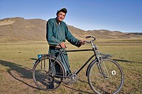 Mongolian man and his bicycle, north-central Mongolia No release available