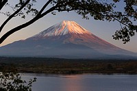 Lake Shoji_ko and Mount Fuji in evening light, Fuji_Hakone_Izu National Park, Honshu, Japan, Asia