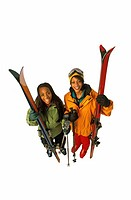 Two Women with Downhill Ski Gear
