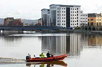 Rescue boat on the River Lagan, Belfast