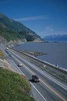 Vehicles on Seward Hwy Summer Turnagain Arm AK
