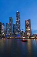 Boat Quay and the Financial District at dusk, Singapore, South East Asia