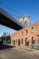 Derelict warehouses under Brooklyn Bridge, Brooklyn, New York City, New York, United States of America, North America