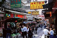 Shops and market stalls on Gage Street, Mid Levels, Hong Kong Island, Hong Kong, China, Asia
