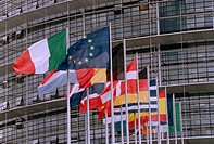 RELEASED EU_Parlamentet I Strasbourg EU Flaggor EU_Parlamentet Byggnad Politik, Close_Up Of Flags By European Parliament