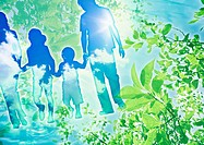 Leaves and family holding hands