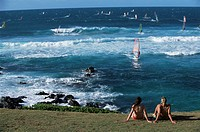 Windsurfing at Kahului Beach, Maui, Hawaii, Hawaiian Islands, Pacific Ocean, United States of America U.S.A., North America