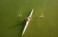 Oarsman, Guadalquivir river. Andalucia, Spain