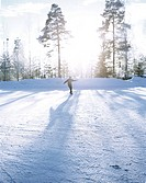 Person åker skridskor i vinterlandskap. Person Ice Skating In Winter Landscape.