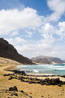 Deserted beach at Praia Grande, Sao Vicente, Cape Verde Islands, Atlantic Ocean, Africa
