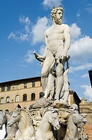 Statue of Neptune on the Piazza della Signoria, Florence Firenze, UNESCO World Heritage Site, Tuscany, Italy, Europe