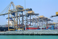 Containers on the docks, Singapore harbour, Singapore