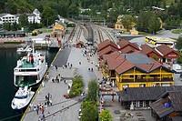 Ferry at a commercial dock, Flam Station, Flam, Aurlandsfjord, Sogn Og Fjordane, Norway