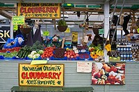 Market stall with vegetables and fruits, Torget Market, Bergen, Hordaland County, Norway
