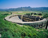 View of Roman Amphitheatre of Aspendos, ancient ruins, Aspendos, Turkey, Europe