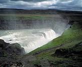 Vattenfall, Gullfoss, Island, Iceland, Gullfoss Waterfall, Elevated View