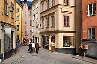 Österlånggatan, Gamla Stan, Stockholm, Stockholm, People Walking On Street Amid Buildings, Elevated View