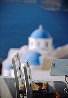 Cafe chairs, Thira Fira, Santorini, Cyclades Islands, Greece, Europe