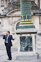 Business man on phone, Paris, France, Europe