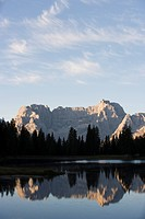 Lake near Cortina, Dolomites, Italy, Europe