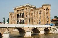 Old Town Hall, The National and University Library Austro_Hungarian Building, Sarajevo, Bosnia, Bosnia_Herzegovina, Europe