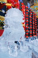 A lion statue ice sculpture at Longqing Gorge Ice sculpture festival, Beijing, China, Asia