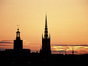 Siluett av Klara kyrka, Tyska kyrkan och Storkyrkan i Stockholm, kyrktorn Sweden, Silhouette of church, elevated view