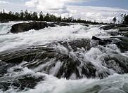 Trollforsen i Piteälven, Norrbotten River water flowing over rocks, northern Sweden, river Pite