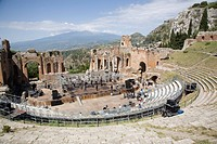 The Greek and Roman theatre, Taormina, Sicily, Italy, Europe