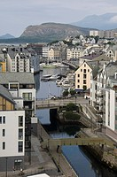 The old town and harbour at Alesund, Norway, Scandinavia, Europe