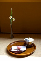 Wagashi and a cup of Japanese tea on a tray, high angle view, Japan