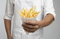 Chef holding french fries mid section (thumbnail)