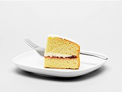 Slice of cake on plate close_up