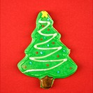 Christmas tree sugar cookie with decorative icing