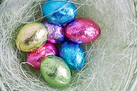 Easter egg candies in bowl (close-up, directly above)